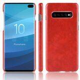 Кожаная накладка-чехол Litchi Texture для Samsung Galaxy S10+ (Plus) (красный)