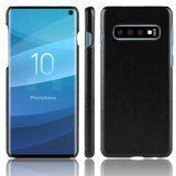 Кожаная накладка-чехол Litchi Texture для Samsung Galaxy S10 (черный)