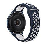 Двухцветный силиконовый ремешок для Samsung Watch Active2 44мм. (синий+белый)