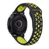 Двухцветный силиконовый ремешок для Samsung Watch Active2 44мм. (черный+зеленый)