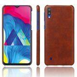 Кожаная накладка-чехол Litchi Texture для Samsung Galaxy M10 (коричневый)