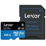 micro SDXC карта памяти Lexar 64GB Class 10 633x U3 A1 V30 с адаптером