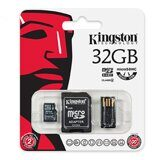 Карта памяти Micro SD 32Gb Kingston Class 4 c адаптером USB + SD