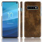 Кожаная накладка-чехол Litchi Texture для Samsung Galaxy S10 (коричневый)