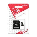Карта памяти Micro SD 128Gb Smart Buy Class 10 c адаптером SD