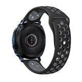 Двухцветный силиконовый ремешок для Samsung Watch Active2 44мм. (черный+серый)