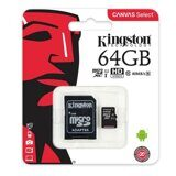 Карта памяти Micro SD 64Gb Kingston Canvas Select up to 80MB/s  Class 10 c адаптером SD
