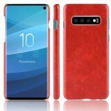 Кожаная накладка-чехол Litchi Texture для Samsung Galaxy S10 (красный)