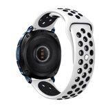 Двухцветный силиконовый ремешок для Samsung Watch Active2 44мм. (белый+черный)