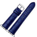 Кожаный ремешок Crocodile Texture для Apple Watch 44 и 42мм (синий)