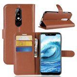 Чехол с визитницей для Nokia 5.1 Plus / Nokia X5 (коричневый)