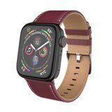Кожаный ремешок Hoco для Apple Watch 44 и 42мм (темно-красный)