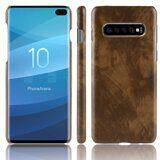 Кожаная накладка-чехол Litchi Texture для Samsung Galaxy S10+ (Plus) (коричневый)