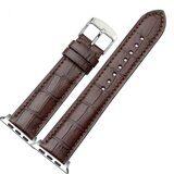 Кожаный ремешок Crocodile Texture для Apple Watch 44 и 42мм (кофе)
