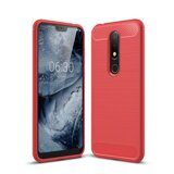 Чехол-накладка Carbon Fibre для Nokia 6.1 Plus (красный)