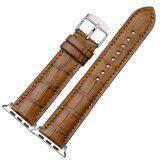 Кожаный ремешок Crocodile Texture для Apple Watch 44 и 42мм (коричневый)
