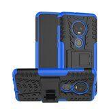 Чехол Hybrid Armor для Motorola Moto G7 (черный + голубой)