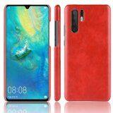 Кожаная накладка-чехол Litchi Texture для Huawei P30 Pro (красный)
