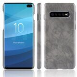 Кожаная накладка-чехол Litchi Texture для Samsung Galaxy S10+ (Plus) (серый)