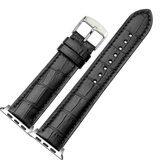 Кожаный ремешок Crocodile Texture для Apple Watch 44 и 42мм (черный)