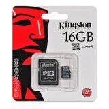 Карта памяти Micro SD 16Gb Kingston Class 4 с адаптером