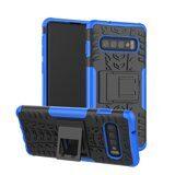 Чехол Hybrid Armor для Samsung Galaxy S10+ (Plus) (черный + голубой)