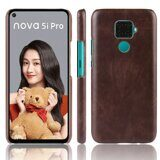 Кожаная накладка-чехол для Huawei nova 5i Pro (коричневый)