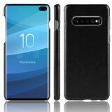 Кожаная накладка-чехол Litchi Texture для Samsung Galaxy S10+ (Plus) (черный)