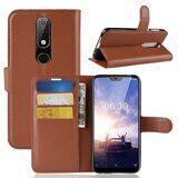 Чехол с визитницей для Nokia 6.1 Plus (коричневый)