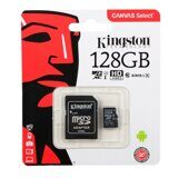 Карта памяти Micro SD 128Gb Kingston Canvas Select up to 80MB/s Class 10 c адаптером SD