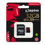 Карта памяти Micro SDHC Kingston 32GB Class 10 Canvas React с адаптером